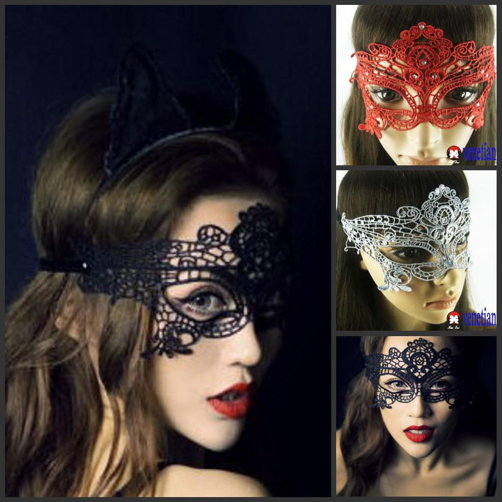 Lace Diamond Women Masquerade Masks Costume Party Hood Halloween ...