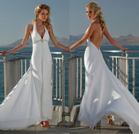 Wholesale Sexy Custom Sheath Halter V neck Crystal Beaded Backless Court Train Chiffon Bridal Dress New Model Beach Wedding Dress DL1310190