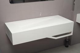 Wholesale Modern Acrylic solid surface wash basins resin bathroom sink wall hanged NX5010