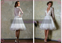 Wholesale 2014 Wedding Dresses White Ivory sheer Back Love Story by Bien Savvy Organza A Line long sleeve deep V neck Sheer Lace Short Wedding Gowns