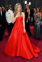 Cheap 2014 new arrive Jennifer aniston A-line strapless Floor-length Taffeta Valentino in Oscar red carpet dress Evening Dresses