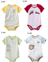 Cheap Wholesale-NEW baby bodysuits rompers one-pieces outfits jumpers stripe babywear cotton jumpsuits t shirts new born overalls tops -ZW663H