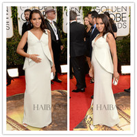 Wholesale 2014 st Golden Globe Awards Red Carpet Dresses Kerry Washington Ivory Satin V Neck Sheath Celebrity Dress Pregnant Evening Gowns