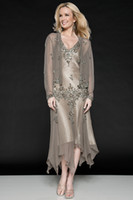 Wholesale 2014 Modern V neck Tea length Embroidery Mother of the Bride Dresses With Sheer Long Sleeve Jacket Chiffon Zipper Wedding Party Gowns SA15