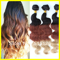 Cheap Hot sale #1b 33 27 ombre color three tone color Malaysian human hair weft 3pcs lot free shipping