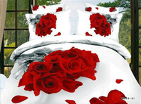 Wholesale 3D Red rose bedding set queen size comforter duvet cover bed sheet quilt bedcloth bedspread bedsheet painting cotton white