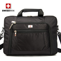 Wholesale 2014 inch new diagonal black SWISSWIN army knife polyester business laptop bag computer bag BDD SW9735