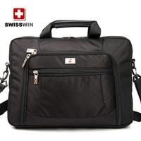 Wholesale 2014 inch new diagonal black SWISSWIN army knife polyester business laptop bag computer bag BDD SW9735