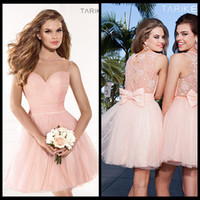 Wholesale Sweetheart Neckline Ruffles Mini - 2014 Tarik Ediz Spring Summer Party Cocktail Dresses Short Prom Gown With Sheer Back Illusion Sweet-heart Neckline Beads Bow Pink Pleated