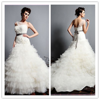 Wholesale Tulle Wedding Dresses Formal Gowns Sash One Shoulder Church Bow Sleeveless Tiered A Line Sweep Sexy Train Applique Zipper AD164