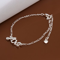 Wholesale High quality silver plated rhinestone crystal fashion jewelry for women LOVE anklet