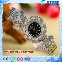 Wholesale Woman dress Fashion pure silver watch inlaying marcasite Women high quality thai silver watch M