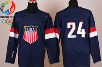 Cheap Wholsale Team USA Ice Hockey Jerseys R. Callahan #24 Blue for 2014 Sochi Winter Olympics Size 48-56