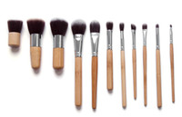 11 PCS bamboo - Professional High Quality Bamboo Makeup Brush Set Goat Hair Cosmetic Makeup Brushes Kit With Bag H1193B