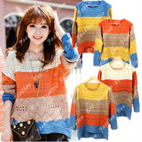 Cheap 2013 Cute Geometric Eyelet Embellished Oversized Striped Sweater Asymmetry Jumper Knitted Top Pullovers 4 Colors