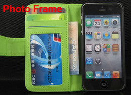 Wholesale Book Wallet Photo Frame Credit ID Card Leather Case Cover For Apple iphone s iphone s iphone c