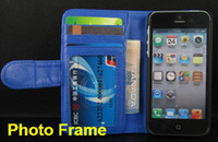 Wholesale Book Photo Frame Wallet Credit ID Card Horizontal Flip Leather Case For Apple Iiphone s iphone s iphone c