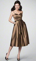 Wholesale Summer Elegent Gold Sisters Bridesmaid Dresses A Line Spaghetti Strap Tea Length Ruched Ribbon Satin Zipper For Wedding Prom Dresses