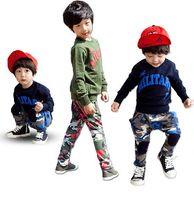 Boy camouflage wholesale - 2014 Spring NEW ARRIVAL Boy Clothing Set Letter Long Sleeve Sweatshirt Tshirt Camouflage Chidlren Tracksuit Kids Suits QZ558