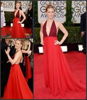 Wholesale st Golden Globe Awards Amy Adams Celebrity Dresses Halter Ruched Chiffon Backless Floor Length Evening Prom Dresses Custom
