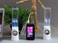 Wholesale FREE DHL Dancing Water Speaker Active Portable Mini USB LED Light Speakers For PC MP3 MP4 PSP colors pair