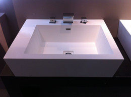 Wholesale Modern Acrylic solid surface resin wash basins square vanity sink
