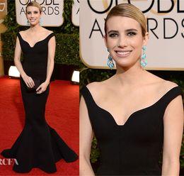 Wholesale 2014 The st Golden Globe Awards Emma Roberts Red Carpet Dress Celebrity Dresses With Off Shoulder Backless Ruched Floor Length Sku