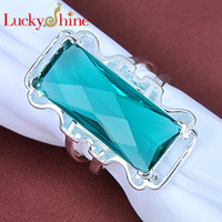 best table settings - 2015 Promotion Hot Sale Solitaire Ring Rodamiento Roller Cone Rotary Table Silver Jewelry Green Rectangle Ring Best Sale R0173