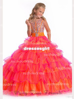 Reference Images Girl Beads 2014 New Arrival Little Flower Girl Dresses Organza Ruffles Tiered Beading Crystals Top Princess Ball Gown Girl's Pageant Dresses PA 1528