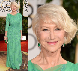 Wholesale 2014 The st Golden Globe Awards Helen Mirren Red Carpet Dress Celebrity Dresses With Sheer Crew Neckline Lace Crystal Sweep Train Sku