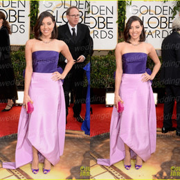 Wholesale 2014 Golden Globe Adwards Red Carpet Aubrey Plaza Strapless A Line Taffeta Ruffles Bow Color Mix Prom Gown Celebrity Dress