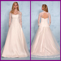 Cheap New Fashion Cheap Vintage Beach Lace Wedding Dresses 2014 Ivory A Line Strapless 3 4 Long Sleeve Real Sample Satin Custom Made White Gowns