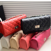 Wholesale Fashion Lady Women PU Leather Shoulder Bag Tote Quilted Chain packet handbag