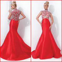 Wholesale 2014 Sexy Mermaid High Neck Beads Beading Red Satain Evening Dresses Zipper Sweep Train Prom Dress Formal Gowns KE1152