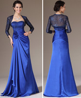 Wholesale 2014 New Arrival Strapless with Long Sleeve Jacket A Line Chiffon Fabric Royal Blue Mother of the Bridal Dress Floor Length