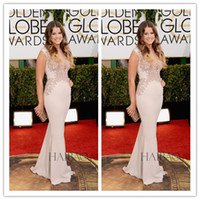 Wholesale 71st Annual Golden Globe Awards Sosie Bacon Sexy Sheer Neck Mermaid Champagne Chiffon Red Carpet Celebrity Dresses with Appliques