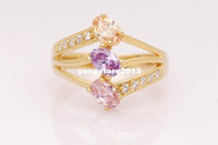 Wholesale 10k Solid Yellow Gold Filled Amethyst Ring Size R180 Gold Wedding Ring Factory Price gold wedding