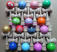 Wholesale Freeshipping CM Glossy Kendama Ball Japanese Traditional Wood Game Kids Toy PU Paint amp Beech stripe face kendama