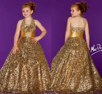 Reference Images Girl Beads 2014 Cute New Shine Beading Halter Ball Gown Sleeveless Sequins Floor Length For Communion Little flower girl pageant dresses