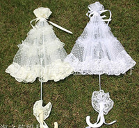parasols - Lace Parasol Sun Umbrella Ribbon in Ivory White Parasol Umbrella Wedding Bridal