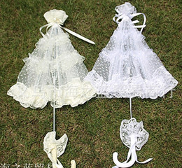 Wholesale Lace Parasol Sun Umbrella Ribbon in Ivory White Parasol Umbrella Wedding Bridal