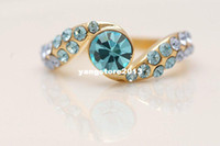 Wholesale Gorgeous k Solid Yellow Gold Blue topaz Ring SZ10 Da28 Gold Ring gold wedding