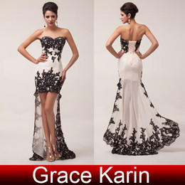 Wholesale New Fashion Hi Lo Prom Dresses Chiffon Lace Long Sheath Cocktail Dress with Black Appliqué CL6044