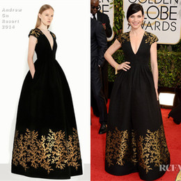 Wholesale 2014 The st Golden Globe Awards Julianna Margulies Red Carpet Dress Celebrity Dresses With Capped V Neck Embroidery Sweep Train Sku