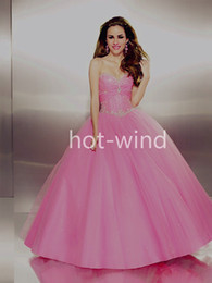 Wholesale 2014 New Ball Gown Net Quinceanera Dresses Sweetheart Lace Up Back Floor Length Crystal Beaded Vintage Prom Graduation Dresses