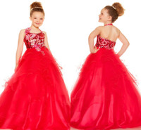 Reference Images Girl Sequins 2014 Cute New Shine Red Sequins Ruffle Halter Ball Gown Sleeveless Organza Floor Length For Communion Little flower girl pageant dresses