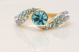 Wholesale Gorgeous k Solid Yellow Gold Filled Blue Sapphire Ring Size R28 Gold Ring Wedding Jewelry gold wedding