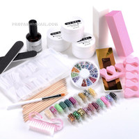 Wholesale Nail Art Full Set Acrylic Color UV Gel Kit Nail Tips Brush Glitter Starter Decoration Manicure Set NA750