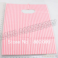 plastic carrier bags - 180pcs New Lastest Design Plastic Red Striped Packaging Bags Shopping Hand Bag Protable Boutique Gift Carrier
