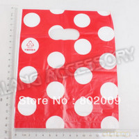 Wholesale 180pcs Red amp White Dot Style Plastic Useful Boutique Gift Carrier Bags Shopping Recyclable GIfts Bag